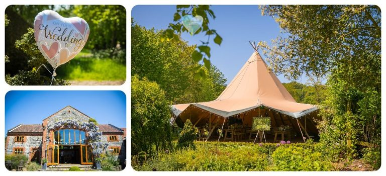 Wisteria clad Chaucer barn and tipi tent in the gardens