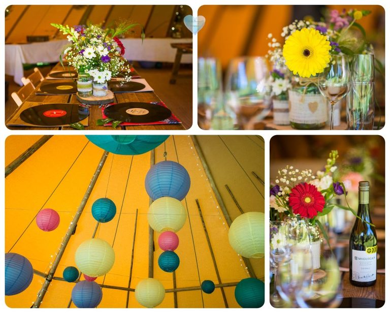 Inside the tipi tent - colourful lanterns hanging, flowers on the tables, LP record place mats