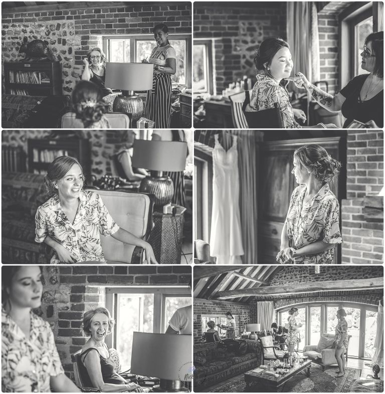 black and white photos of bride and bridesmaid having hair & make up done