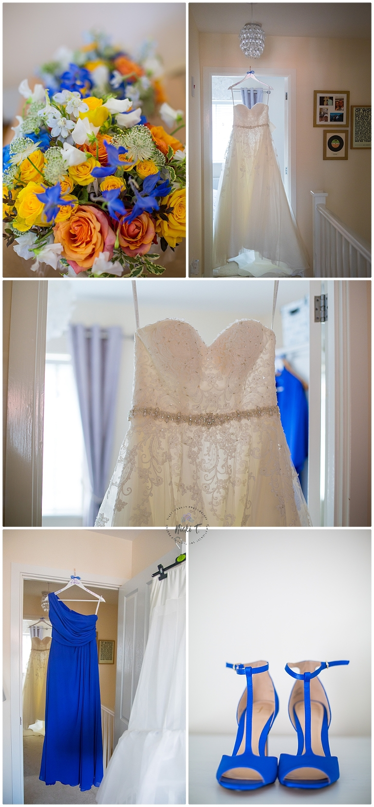 Bride's shoes, flowers and wedding dress