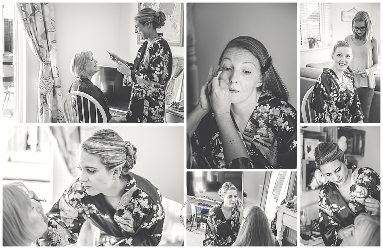 black and white photos of bride getting ready