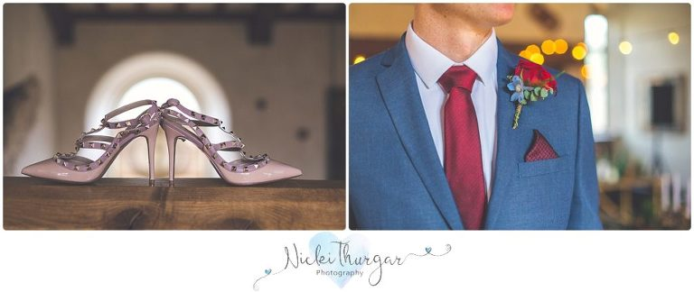 bride's shoes, groom's button holes