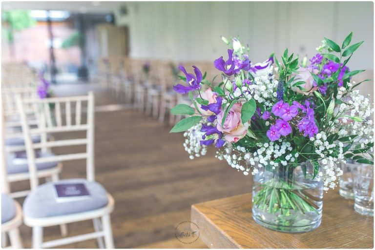 floral display wedding ceremony Norfolk Mead Hotel