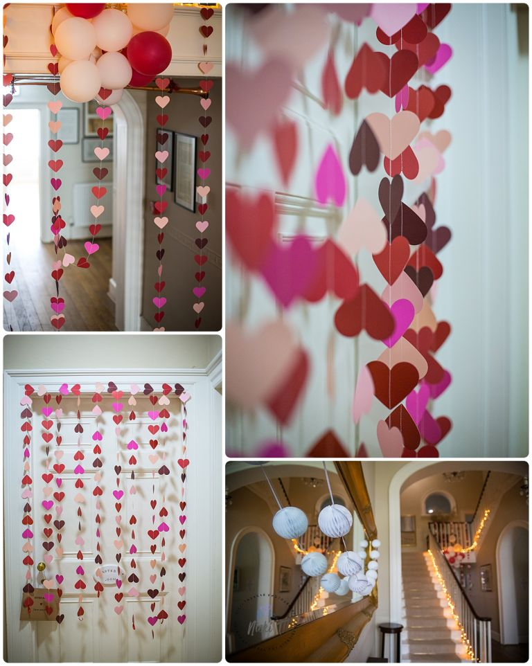 paper hearts, staircase at Bressingham Hall