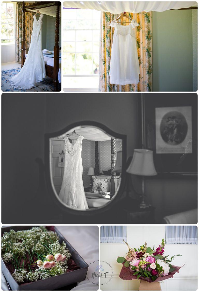 wedding dress, wedding bouquet Bressingham Hall