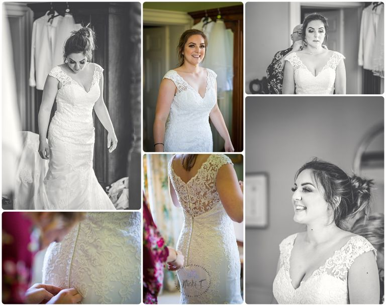 Bride in wedding dress at Bressingham Hall