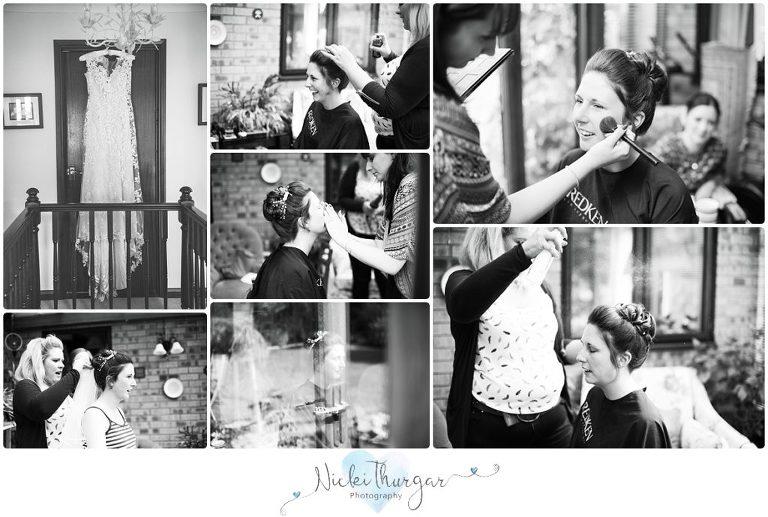 bride getting ready black & white photos